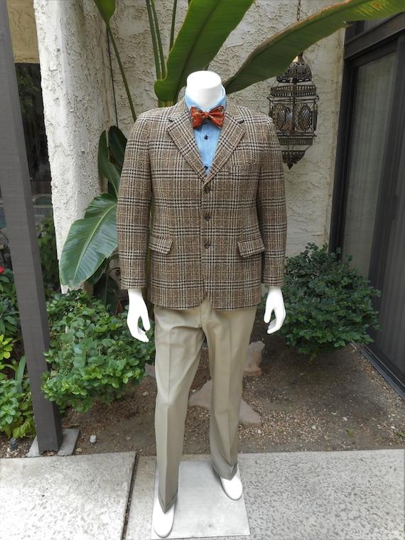 Manteau de Sport vintage des années 1970 Tweed à carreaux marron laine - taille 40