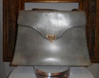 Vintage 1940/50's Large Grey Leather Handbag