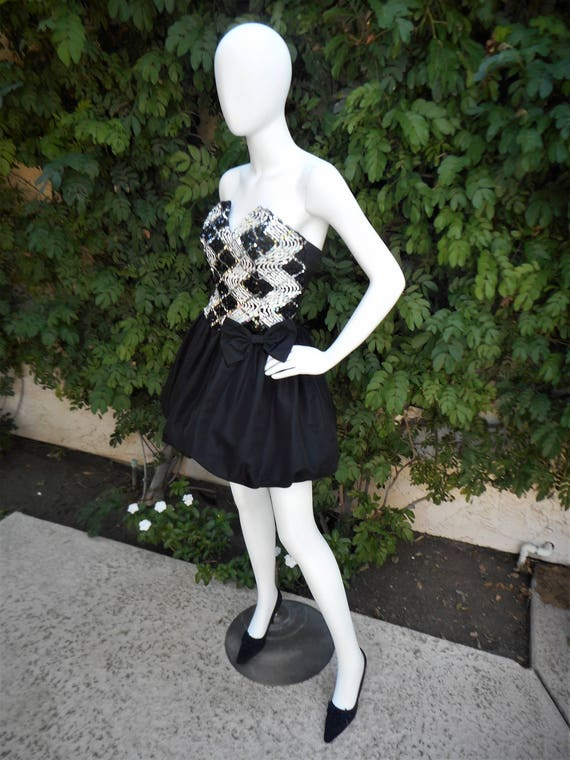 Vintage 1980's Jessica McClintock Black & White S… - image 1
