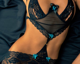 f30380a0603c5 Stretch Lace Chemise Lingerie with Garters