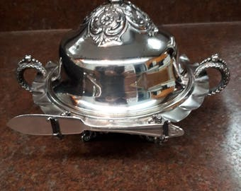 EP W.M Fine Silver Plate Covered Footed Butter Dish with Knife