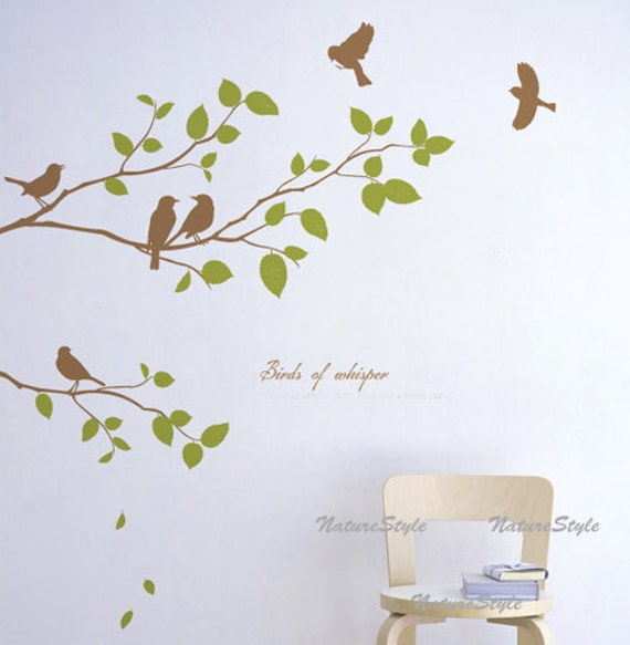 Wand Aufkleber Zweige Wandtattoo fliegende Vögel Kinderzimmer Wand Dekor  Baby Aufkleber Zimmer Dekor - drei Zweige mit fliegenden Vögeln