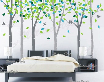 FREE SHIPPING - wall decal tree nursery wall decal baby wall decal children bedroom vinyl decal-6 Birch Tree with Colorful leaves