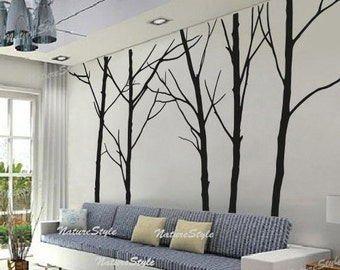 FREE SHIPPING - wall decal trees wall decor nursery vinyl wall decal baby wall sticker children room vinyl nature - Five Winter Trees