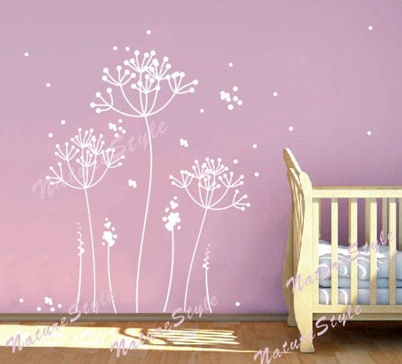 dandelion wall decal flower nursery room vinyl wall decal | etsy