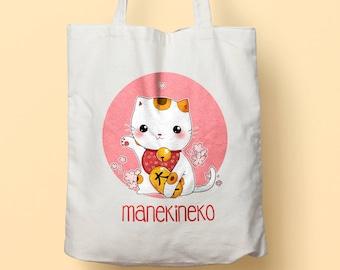 Manekineko kawaii organic cotton tote bag