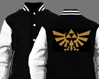 Legend of Zelda gold Hyrule crest varsity jacket 3af530b521b