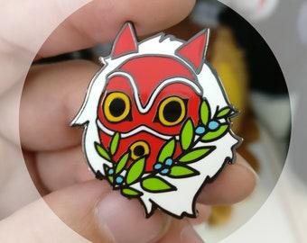 San's mask hard enamel pin - ghibli Princess Mononoke inspired