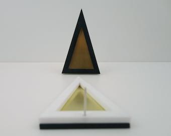 BLAST | eclectic huge triangle jewelry | triangle fashion perspex earrings | big plexiglass brass earrings | unusual chic large earrings
