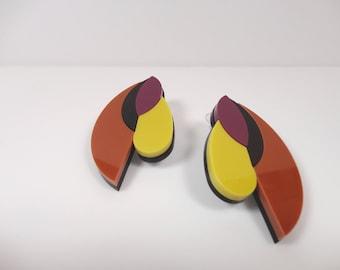 NATURA | abstract form earrings, acrylic Avant-garde earrings, European design, plexiglass geometric jewelry, psychedelic perspex earrings |