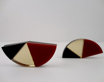 NEVADA |'80 style urban earrings | gold black laser-cut perspex earrings | geometric art deco lightweight earring | handmade by Plexi Shock