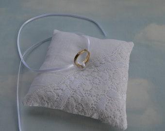 Off white MINI linen ring pillow, SMALL wedding ring cushion, Wedding ring bearer pillow,