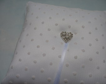 White wedding ring bearer pillow. White ring cushion. Polka dot wedding.