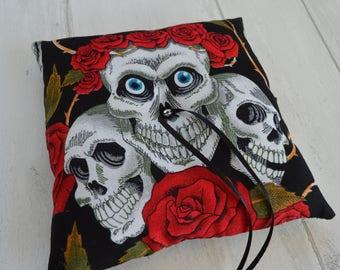 Ring cushion Skull wedding ring pillow Halloween Gothic wedding Skulls and roses wedding