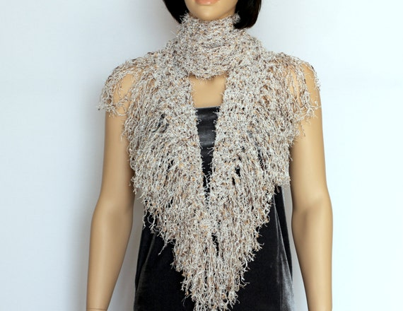 Beige Long Fringe Scarf Crochet Pattern Crochet Scarf Pdf Etsy