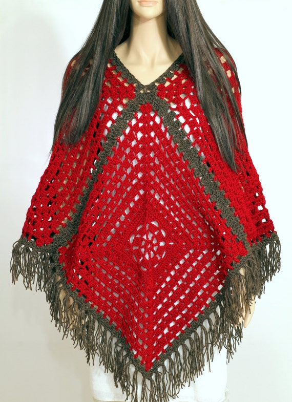 Vintage Granny Square Poncho Crochet Poncho Pattern Pdf Cape Etsy