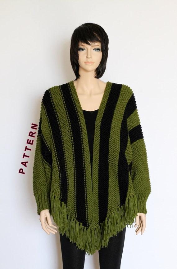 Knit Poncho Cape Pattern Shawl Pattern Striped Knitted Poncho | Etsy