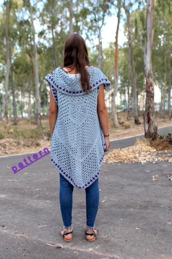 Long Vest Crochet Vest Pattern Boho Crochet Vest Hippie Vest