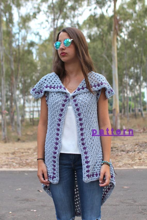 Crochet Vest Pattern Boho Crochet Vest Hippie Vest Long Etsy