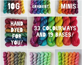 Gradient Mini Skein Sets -- Hand Dyed to Order, You Choose the Colourway and Yarn Base!