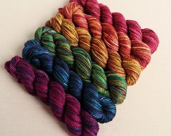 """Hand Dyed Gradient Yarn Set,  """"Gleaming in the Deep"""" (Dyed to Order) Your Choice of Size and Yarn Base"""