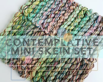 """Hand Dyed Mini Skein Set """"Contemplative"""" Eight Skein Set, Your Choice of 2ply Untreated BFL Fingering, or 3ply Eco Merino/Nylon Sock"""