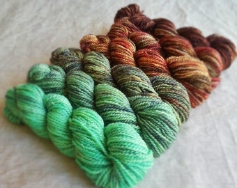 """Hand Dyed Gradient Yarn Set, """"Trekking across the Continent"""" (Dyed to Order) Your Choice of Size and Yarn Base"""