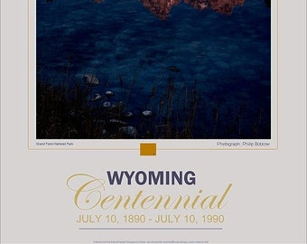 Vintage, poster, Wyoming, Centennial , 19x29, cowboy, state, Photo, signed, tetons, jackson, hole, perfect gift