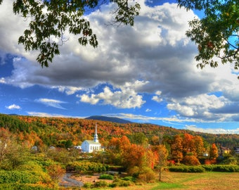 Vermont photography-photo-print-Stowe-Vermont-fall-autumn-free shipping- top reviews-wedding-housewarming-gift-wall-decor, affordable