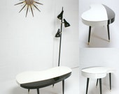 VINTAGE 50s 60s Mid Century Modern Eames Era Mad Men Kidney Bean shape Coffee black and white Coffee Table