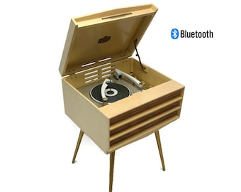 The Vintedge Co™ - RCA ORTHOPHONIC High Fidelity Mono Blonde Record Player Changer - LISTEN to it play