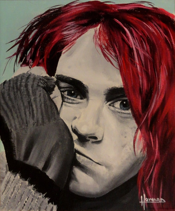 Kurt Cobain Red Hair Nirvana Art Print Reproduction   Etsy