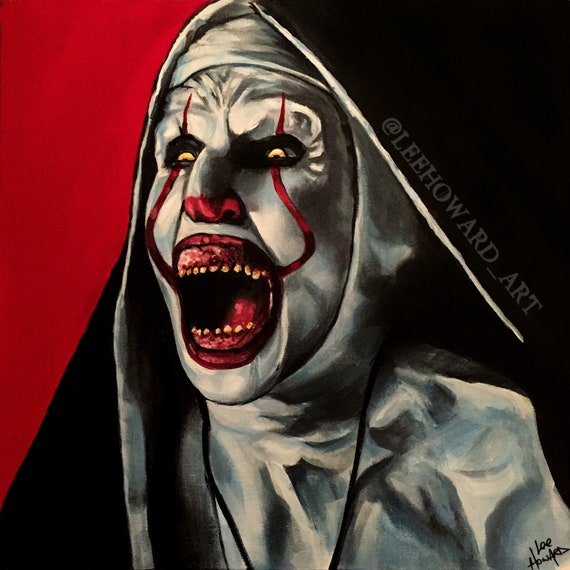 pennywise it valak the nun mash up 10x10 art etsy