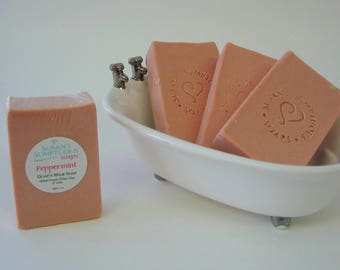 Peppermint with French Pink Clay - Goat's Milk Soap with Silk