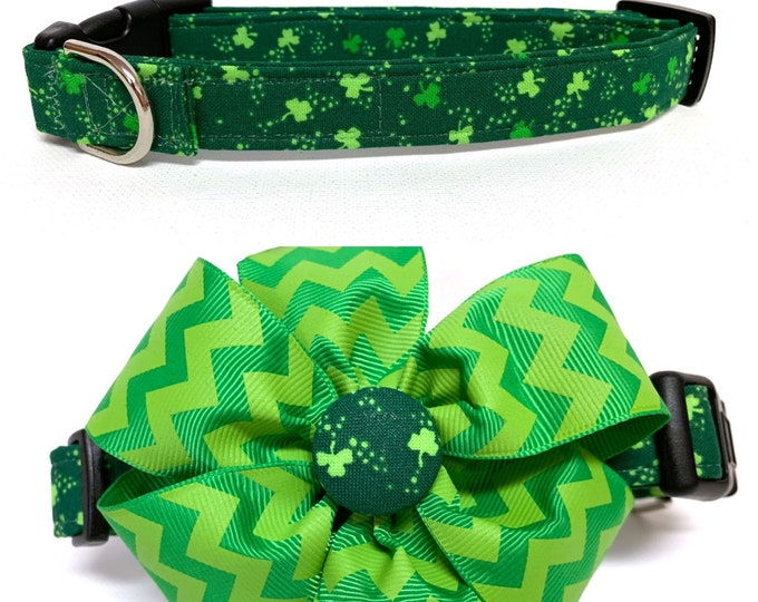 Featured listing image: Dog Collar- Naked The Clover or The Clover with removable piano key bow- Adjustable coll