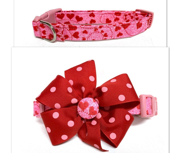 Featured listing image: Dog Collar- Naked The Glitter Hearts or Glitter Hearts with removable bow- Adjustable collar