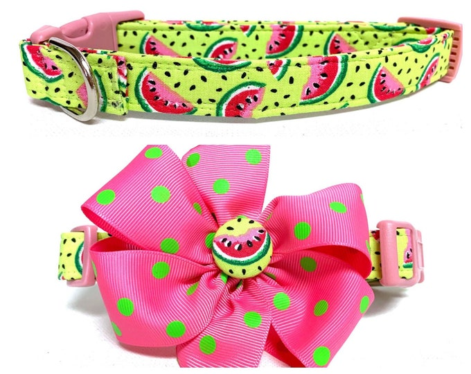 Featured listing image: Dog Collar- Naked The Summer Watermelon or The Summer Watermelon with removable polka dot bow- Adjustable coll