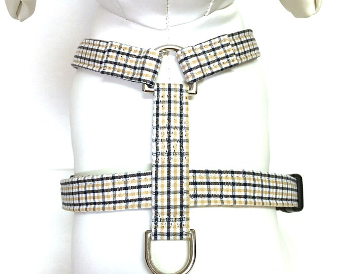 Featured listing image: Naked Dog Harness- The Black and Gold Plaid-UCF- Knights- Adjustable Harness
