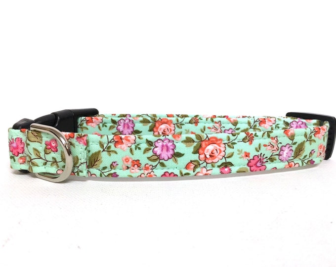 Featured listing image: Naked Dog Collar- The Mint and Coral- Adjustable Collar