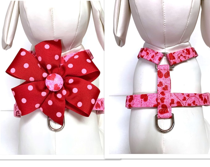 Featured listing image: Dog Harness- Naked The Glitter Hearts or Glitter Hearts with removable bow- Adjustable Harness