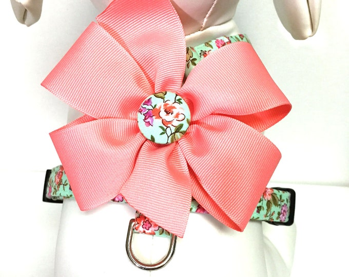 Featured listing image: Dog Harness- The Mint and Coral- Adjustable Harness with Removable Bow