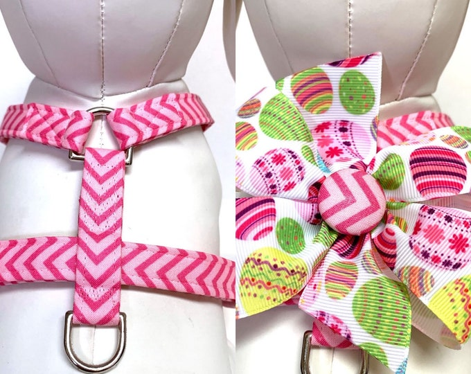 Featured listing image: Dog Harness- Naked Spring Easter Eggs or The Spring Easter Eggs Bow Harness- Adjustable Harness with Removable Bow