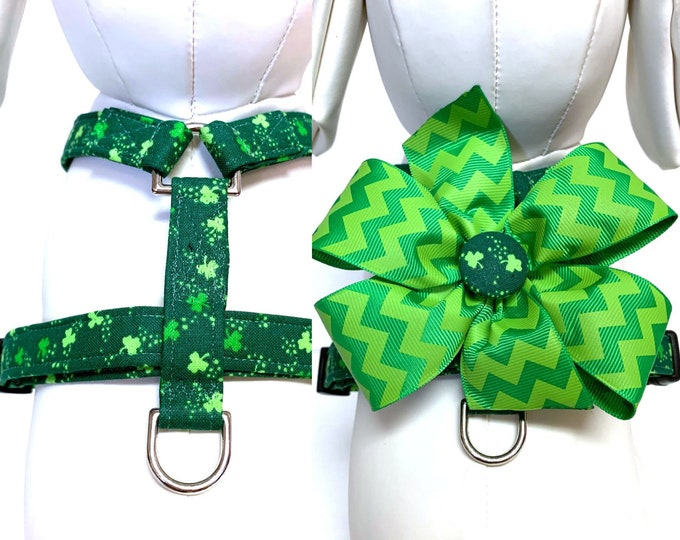 Featured listing image: Dog Harness- Naked Harness- The Clover or The Clover Bow Harness- Adjustable Harness with Removable Bow