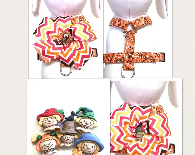 Featured listing image: Dog Harness- Orange Bandana Naked Harness or Orange Bandana Bow Harness with either a Turkey or Scarecrow Button- Adjustable- Removable Bow