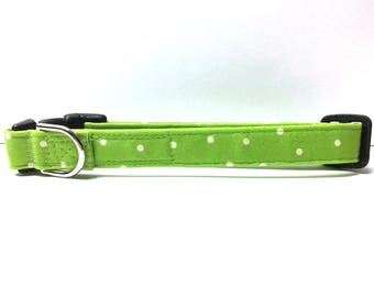 Dog Collar- The Lime Green Polka Dot