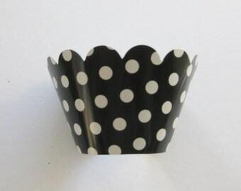 12 Reversible Black Polka Dot CUPCAKE WRAPPERS