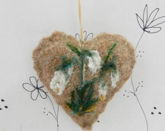 Needle felted heart ornament, Snow drop floral brooch, pincushion, Forget me not wool heart ornament with snow drop, gift tag, Mothers Day