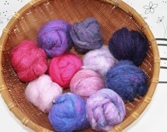 Wool Batting color assortment, all of the Pink and Purple shades, needle felting fibers, collection of pink roving felting, choice of size