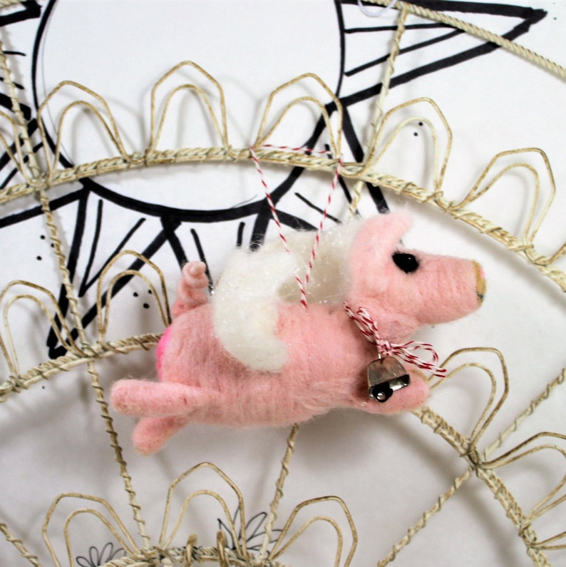 miniature pink when pigs fly heart Needle felted pig ornament when pigs fly ornament perfect for pig lovers  Curly Furr ornament