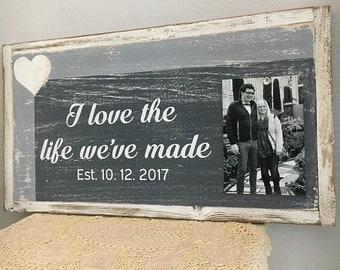 Reclaimed wood sign, Farmhouse sign, farmhouse wall decor, wedding sign, rustic wedding, framed quotes, wedding gift, bridal shower gift